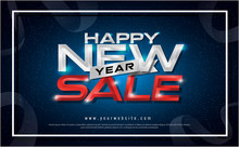 Happy New Year Sale Typography Blue Lighting Effect On Navy Background. New Year Sale Greeting Card Design With Lettering Inscription For Poster. Vector Illustration