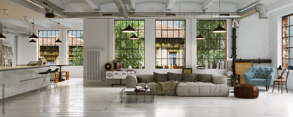Fototapety, obrazy: Panorama view inside vintage Loft Apartment - Loft Wohnung in Berlin