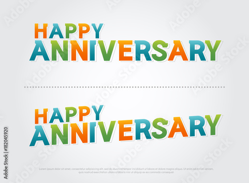 Happy anniversary colorful logo  anniversary celebration typography