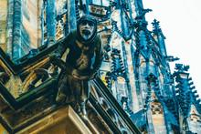 Czech Architecture, Scary Gargoyle Sculpture, Gothic Temple Decoration. Medieval Art, Mystic Gargoyle Monster Statue, St. Vitus Cathedral.