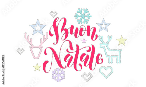 Buon natale italian merry christmas embroidery font and decoration buon natale italian merry christmas embroidery font and decoration for holiday greeting card design vector m4hsunfo