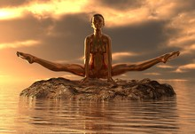 Statue Golden Girl Doing Yoga ...