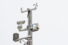 Automatic Meteorological Station Complex With Video Cameras Located In The City.