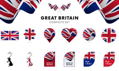 Kompletny zestaw do Wielkiej Brytanii. Ilustracji wektorowych.