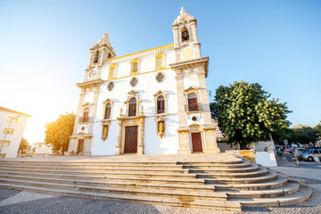 View on the facade of Carmo church in Faro city on the south of Portugal