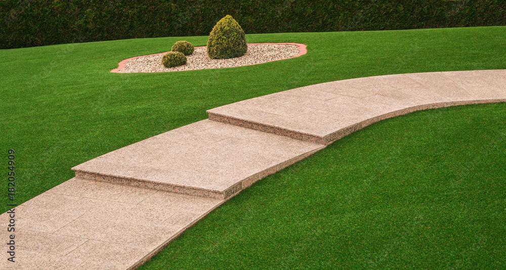 Fototapety, obrazy: Vorgarten mit Gartenweg und Außentreppe aus Granit und Kunstrasen - Front yard with garden path and outside staircase made of granite and artificial turf