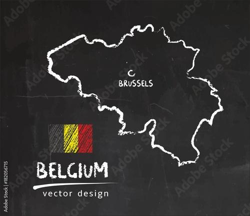 Obraz na płótnie Belgium map, vector drawing on blackboard
