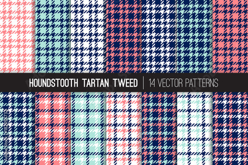 Photo  Navy Blue, Coral Pink, Aqua Houndstooth Tartan Tweed Vector Patterns