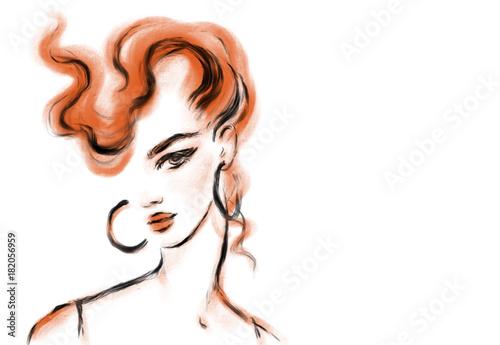 Poster Portrait Aquarelle young woman. fashion illustration