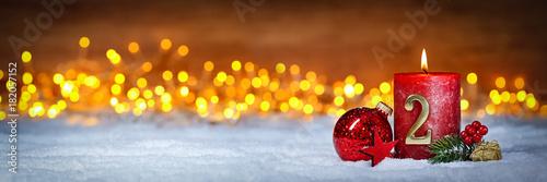 Zweiter Advent schnee panorama Kerze mit Zahl dekoriert weihnachten Aventszeit h Tableau sur Toile