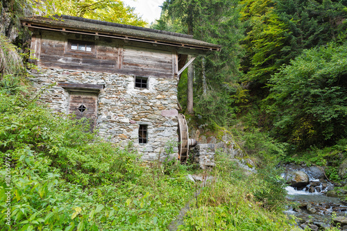 Poster Molens Old water mill in the forest thicket. Western Carinthia, Austria