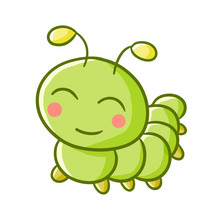 Cute And Happy Smiling Green C...
