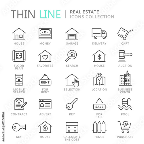 Photo  Collection of real estate thin line icons