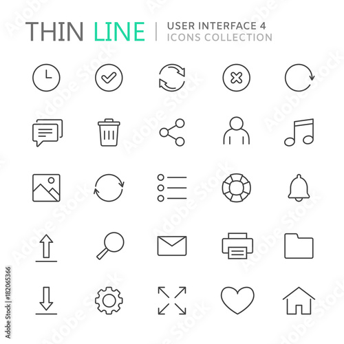 Fotografía  Collection of user interface thin line icons