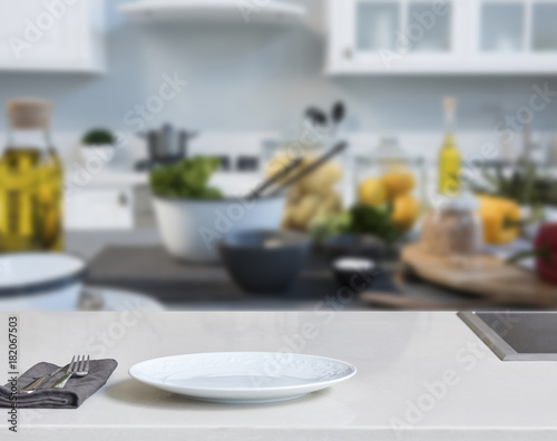 Blur abstract background modern tiles wall, white table with ...