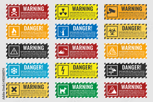 danger sign banner with warning text, vector illustration Canvas