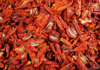 Close Up of sun dried tomatoes. Food background.