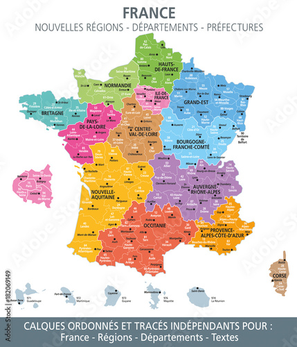 Carte de France, nouvelles régions, départements et ...