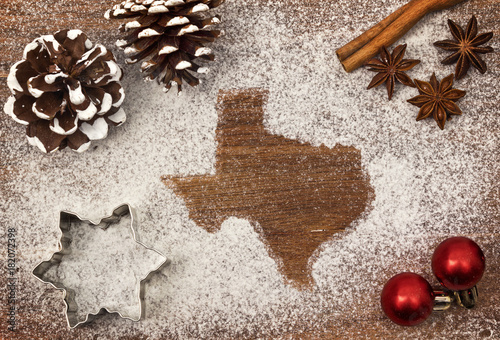 Poster Texas Festive motif of flour in the shape of Texas (series)