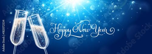 Fotografie, Obraz New years eve celebration background with champagne