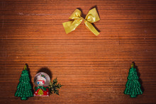 Easy Background Of Christmas Decoration All Around On Old Wood