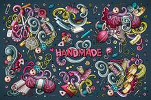 Doodle Cartoon Set Of Handmade...