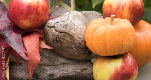 Close-up: image of a wooden slumbering cat is in a garden