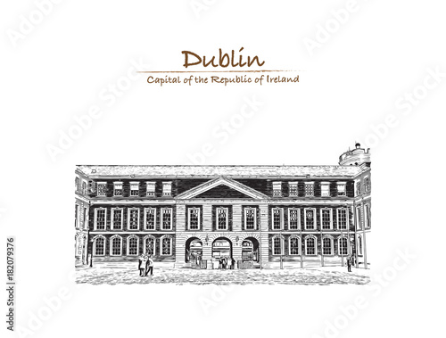Photo  Hand drawn sketch of Dublin Castle off Dame Street, Dublin, Ireland in vector illustration