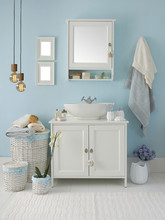 Blue Bathroom Style With Bathroom Objects