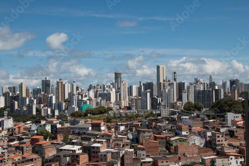 Fotografie, Obraz  Social Contrast - Favela and buildings