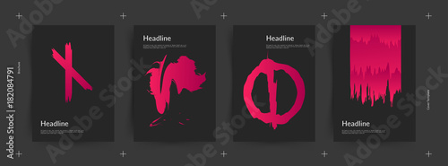 Fotografie, Obraz  Black and pink color covers set