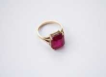 Isolated Gold Ring With Ruby