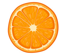 Vector Orange Slice Isolated On White Background. Illustration Of Citrus. Vector Illustration For Decorative Poster, Emblem Natural Product, Farmers Market.