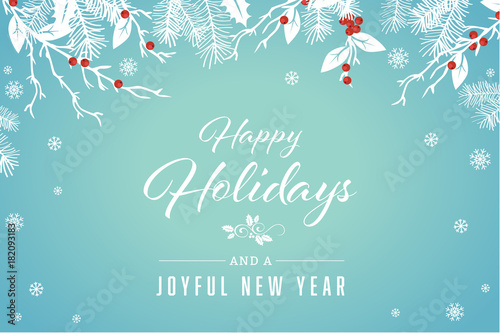 Foto  Turquoise Happy Holidays and Joyful New Year Vector Illustration 1