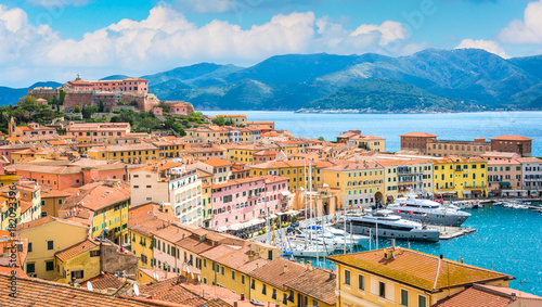 Panoramic sight of Portoferraio in Elba Island, Tuscany, Italy. Fotobehang