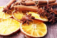 Dry Slices Of Orange, Cinnamon, Cloves And Cardamom.