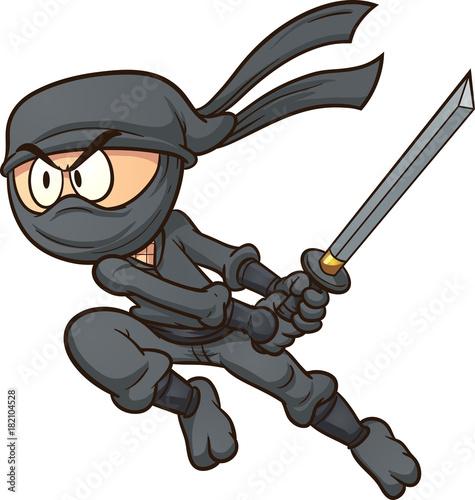 Photo  Cartoon ninja attacking