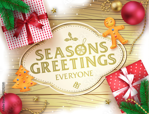 Christmas seasons greatings decorative greeting poster in brown christmas seasons greatings decorative greeting poster in brown wooden background with snow christmas balls gifts m4hsunfo