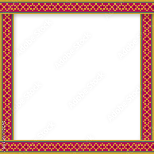 cute christmas or new year border with diamond pattern on red background vector illustration