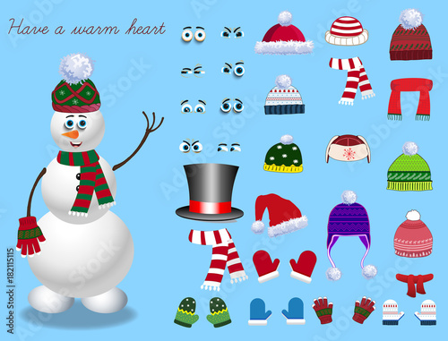 Set For Creation Cute Cartoon Snowman Character Christmas And New