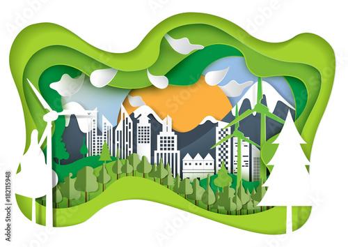 In de dag Lime groen Nature landscape and green eco city concept.Paper carve of environment conservation conceptual design paper art style.Vector illustration.