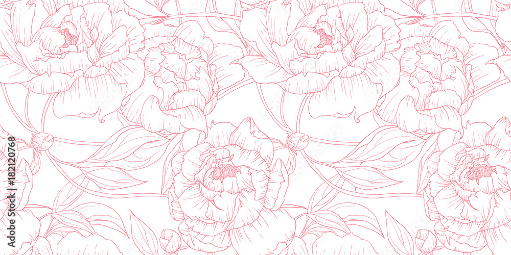 Fototapety, obrazy: Seamless pattern, hand drawn outline pink Peony flowers on white background