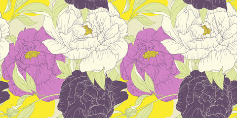 FototapetaSeamless pattern, hand drawn pink, white and purple Peony flowers on yellow background