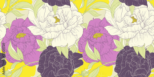 Seamless pattern, hand drawn pink, white and purple Peony flowers on yellow background