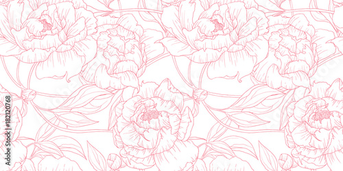 Deurstickers Kunstmatig Seamless pattern, hand drawn outline pink Peony flowers on white background