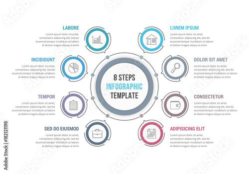 Fotografía Circle Infographics with 8 Elements