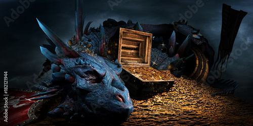 Fotografie, Obraz Dragon on the stack of gold