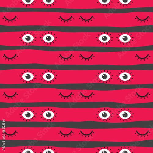 Cotton fabric Seamless pattern background with close and open eyes.Psychedelic eyes concept design.Vector illustration.