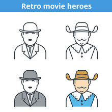 Flat And Linear Vector Avatar Set: Comic And Musketeer. Retro Movie Outline Human Userpic Collection. Colorful Thin Line Face Icons For User Profiles, Web Design, Social Media And Infographics.