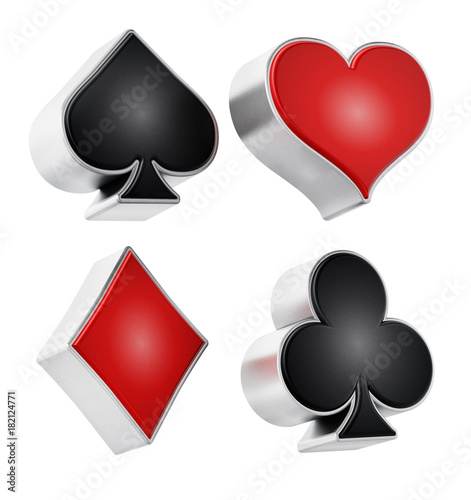 Playing card suits symbols isolated on white background Canvas Print